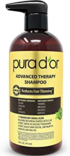 PURA D'OR Advanced Therapy Shampoo Reduces Hair Thinning & Increases Volume, Sulfate Free, Biotin Shampoo Infused with Argan Oil, Aloe Vera for All Hair Types, Men & Women,16 Fl Oz
