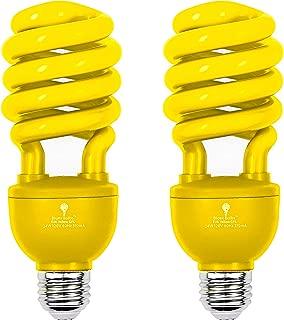 2 Pack BlueX CFL Yellow Bug Light Bulbs 24W - 100-Watt Equivalent - E26 Spiral Replacement Yellow Light Bulbs - Bulb Yellow Decorative Illumination - for Indoor or Outdoor Bug Bulb Colored Bulbs