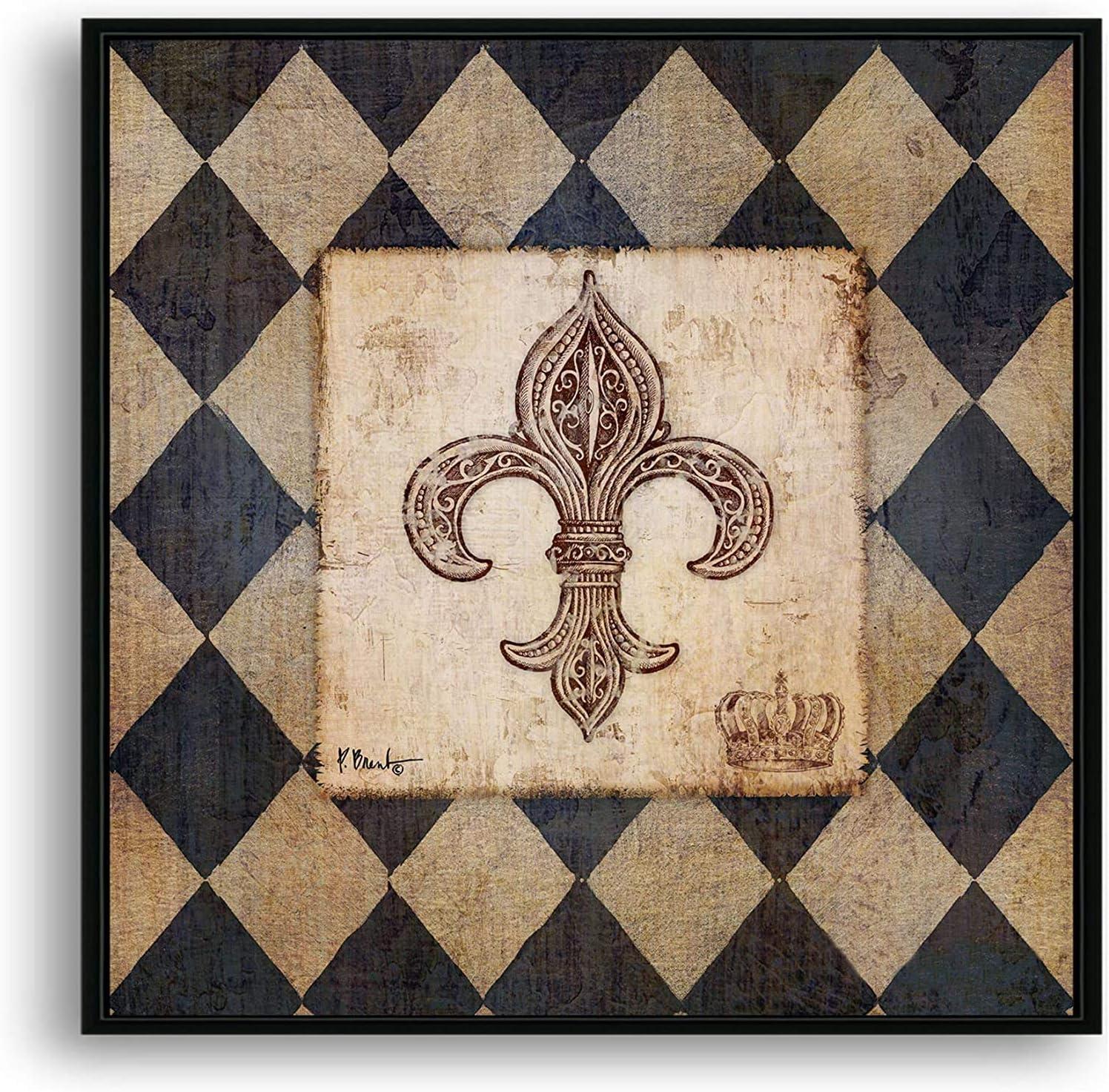 Texture of Dreams Vintage Harlequin discount Black Pattern w Max 58% OFF Fleur-De-Lis
