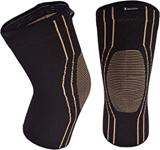 Thx4 Copper Sports Compression Knee Brace for Joint Pain and Arthritis Relief, Improved Circulation Support for Running, Jogging, Workout, Gym-Best Knee Sleeve-Single-Medium