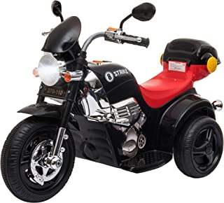 Aosom Ride-on Electric Motorcycle for Kids with Music & Horn Buttons, Stable 3-Wheel Design, & Rear Storage Space, Black