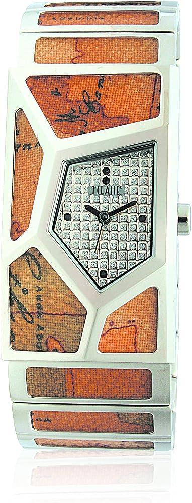 Alviero martini, orologio per donna, in acciaio con ritagli di tela geo-design PCD 762/FM