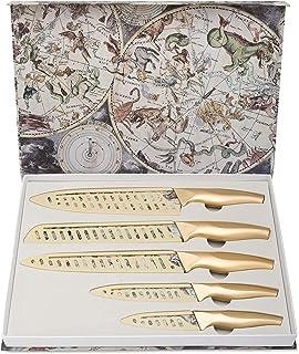 Ensemble de Couteaux, Ensemble de Couteaux de Cuisine de 5 pièces avec Revêtement Antiadhésif avec 5 Couvercles de Gaine d...