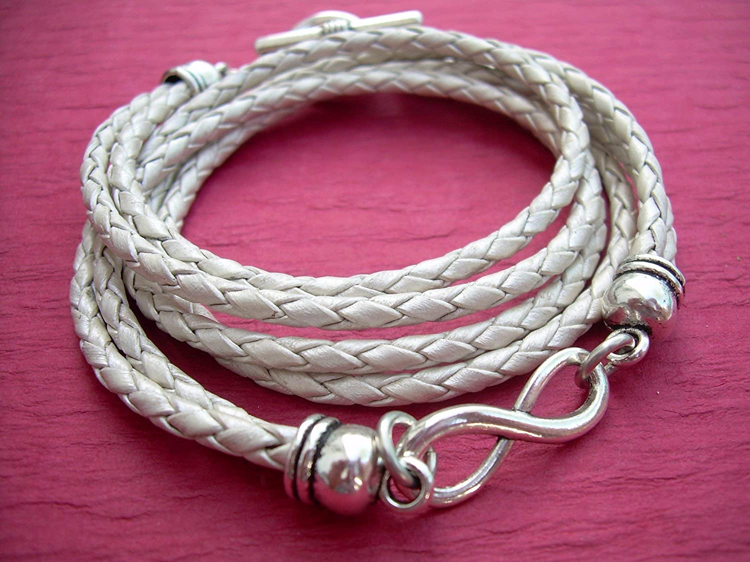 Leather Bracelet Infinity Metallic Inexpensive Pearl Braided To