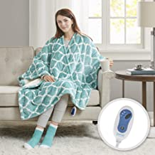 Comfort Spaces Plush to Sherpa 2 Piece Electric Wrap Blanket and Socks Set Ultra Soft Warm Reversible Heated Poncho Throw, Ogee, Aqua
