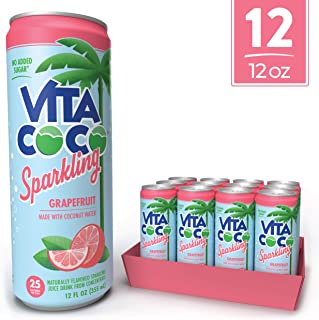 Vita Coco Sparkling Coconut Water, Grapefruit - Low Calorie Naturally Hydrating Electrolyte Drink - Smart Alternative to Juice, Soda, and Seltzer - Gluten Free - 12 Ounce (Pack of 12)