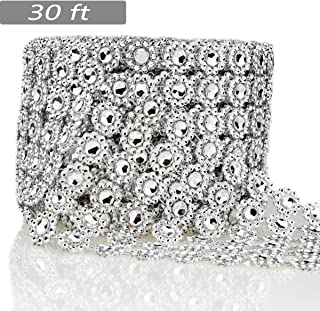 Bling Rhinestone Diamond Flower Shape Mesh Ribbon Wrap,Storystore Silver Acrylic Bling Diamond Wrap Ribbon for Wedding, Cake, Vase Decorations, Party Supplies(1 Roll, 30Ft,6 Rows)(Silver Flower Shape)