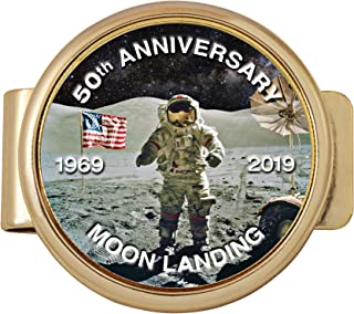Moon Landing Eisenhower Bicentennial Dollar Coin Money Clip | 50th Anniversary Coin Layered In Gold | Holds Currency, Credit and Business Cards |Certificate of Authenticity - American Coin Treasures