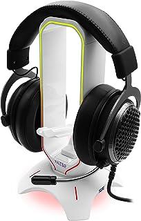 Tilted Nation RGB, soporte para auriculares 3 en 1 con ratón elástico y 2 puertos USB 3.0 Hub – El último accesorio para juegos – Soporte para auriculares RGB dinámico con cargador USB – Blanco
