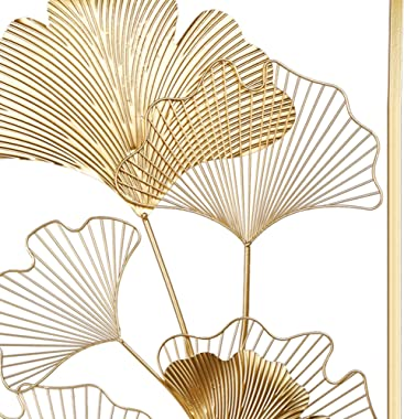 "Lulu Home Metal Wall Decor, 39"" X 20"" Golden Ginkgo Leaf Wall Hanging Decor with Frame, Golden Metal Art Wall Sculpture for L"