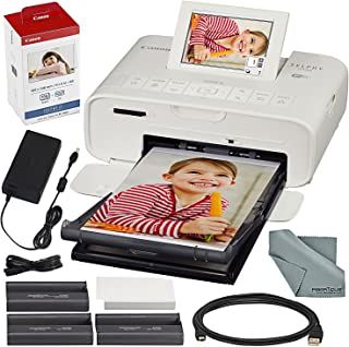 Canon SELPHY CP1300 Compact Photo Printer (White) with WiFi and Accessory Bundle w/Canon Color Ink and Paper Set