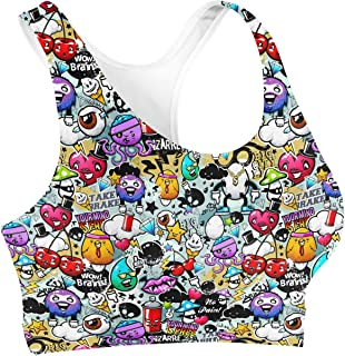 Rainbow Rules Cute Graffiti Sports Bra