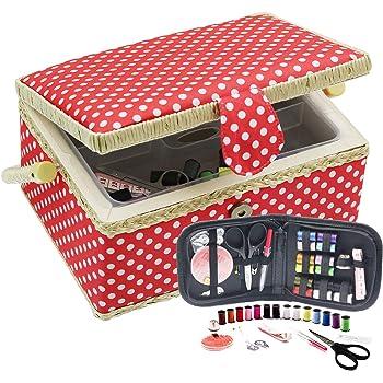 D&D 裁縫箱 ソーイングボックス 裁縫セット 収納 24*17.5*13cm (赤い点)
