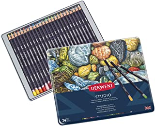 Derwent Studio Colored Pencils, 3.4mm Core, Metal Tin, 24 Count (32197)