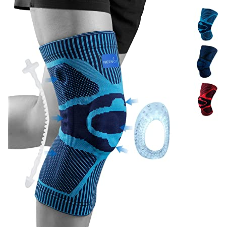1 Pair for Men and Women with Elastic Gel Pads Arthritis FJZLIFE Knee Support Joint Pain Relief Meniscus Tear and Injury Recovery Professional Knee Brace for Running ACL