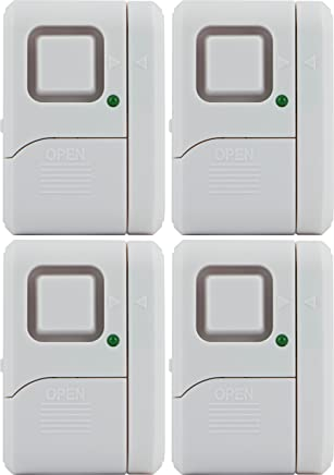 GE Personal Security Window/Door Alarm, 4-Pack, DIY Home Protection, Burglar Alert, Wireless Alarm, Off/Chime/Alarm, Easy Installation, Ideal for Home, Garage, Apartment, Dorm, RV and Office, 45174