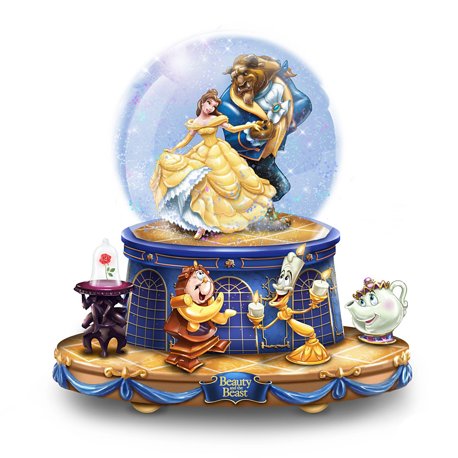 Image of Rotating Disney Musical Beauty And The Beast Water Globe