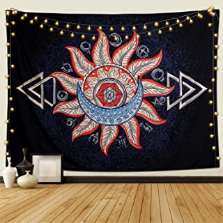KHOYIME Sun and Moon Tapestry Alchemy Tapestries with Burning Sun Hippie Psychedelic Wall Hanging Starry Sun Home Decor for Bedroom Living Room Dorm Party Decor (58