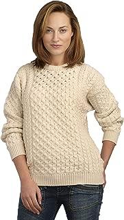 Aran Crafts Unisex Irish Cable Knitted Crew Neck Sweater (100% Merino Wool)