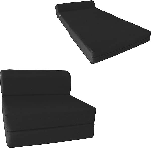 Chair Folding Foam Bed Studio Sofa Guest Folded Foam Mattress 6 X 36 X 70 Black