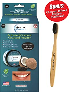 Active Bright Charcoal Teeth Whitening Powder w/Bonus Bamboo Toothbrush - Original As Seen on TV