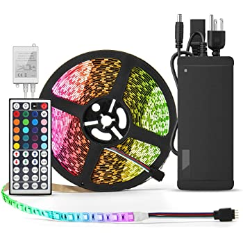 BINZET Flexible LED Strip Light - 32.8 Ft 5050 RGB 300LEDs Non-waterproof Color Changing Full Kit with 44 Keys IR Remote Controller 24V 3A Power Supply for Holiday Party Decoration