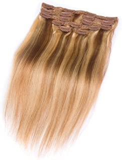 b33f9f87aba2 Quentina Clip in Hair Extensions Human Hair Blonde Hair Extensions  Brazilian Straight Hair Extensions Remy Human