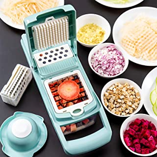 Vegetable Chopper Slicer Dicer, Onion Manual 8 in 1 Multi-functional Adjustable Food Cutter - Vegetable & Fruit Chopper Dicer with Storage Container