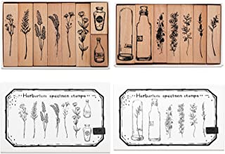 Tosnail 15 Pieces Wood Rubber Stamps, Flower and Vase Decorative Wooden Stamps for Diary, Letters, Scrapbook, Card Making,...