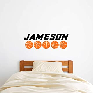 Custom Name Basketball Wall Decal - Boys Girls Personalized Name Basketball Sports Wall Sticker - Custom Name Sign - Custom Name Stencil Monogram - Boys Girls Room Wall Decor