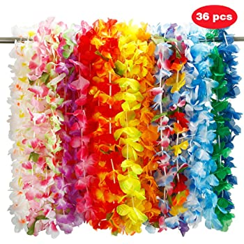 Hawaii Flower NNDOLL 200 pieces Hawaiian Tropical Flower Garlands Lei Garlands