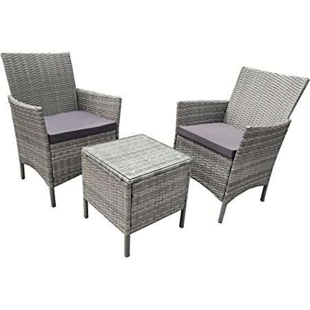 Neo 3 Piece Rattan Garden Furniture Bistro Set Chair Coffee Table Patio Outdoor (Grey)