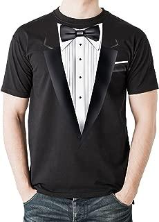 New - Black Tuxedo - Men's Black Cotton T-Shirt Fancy Dress