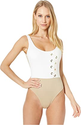 BCBG Womens Laced Solids Lace-Up Tank One-Piece