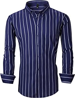 Men's Long Sleeve Casual Slim Fit Vertical Striped Button Down Dress Shirt