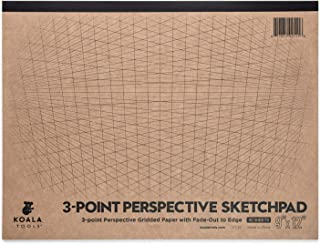 """Koala Tools   Drawing Perspective (3-Point) Large Sketch Pad   9"""" x 12"""", 40 pp. - Perspective Grid Graph Paper for Interio..."""