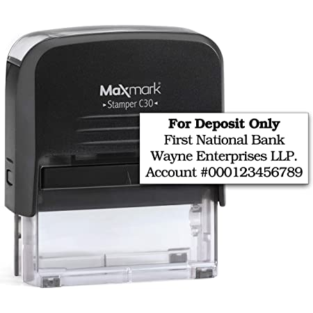 7//8 x 2-3//8 Bank Deposit Stamp Includes Extra Replacement pad $6.95 Value Large Size 3-Line Self Inking Stamp for Check Endorsement