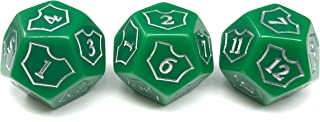 Hedral MTG D12 Spin-Down Loyalty Counter Dice 3 Die Set Green - Magic: The Gathering TCG CCG Planeswalker