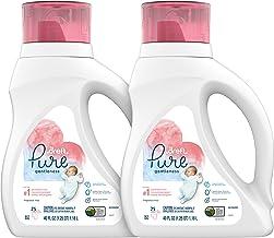 Dreft Pure Gentleness Plant-Based Liquid Baby Detergent, Fragrance Free, Two 40 Fl Oz Bottles, 50 Total Loads