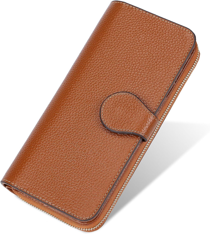 Yafeige Women's RFID Blocking Wallet Luxury Genuine Leather Clutch Ladies Travel Purse