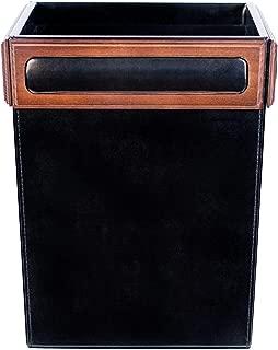 Dacasso Walnut and Leather Waste Basket