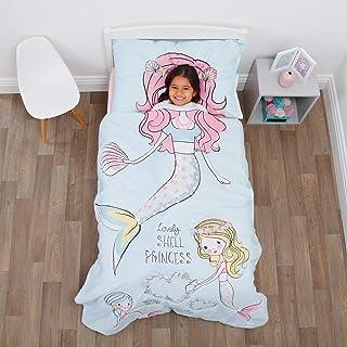Everything Kids Mermaid 4 Piece Toddler Bed Set - Comforter, Fitted Bottom Sheet, Flat Top Sheet, Standard Size Pillowcase...