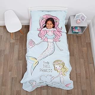 Everything Kids Mermaid 4 Piece Toddler Bed Set - Comforter, Fitted Bottom Sheet, Flat Top Sheet, Standard Size Pillowcase, Aqua, Pink, Yellow