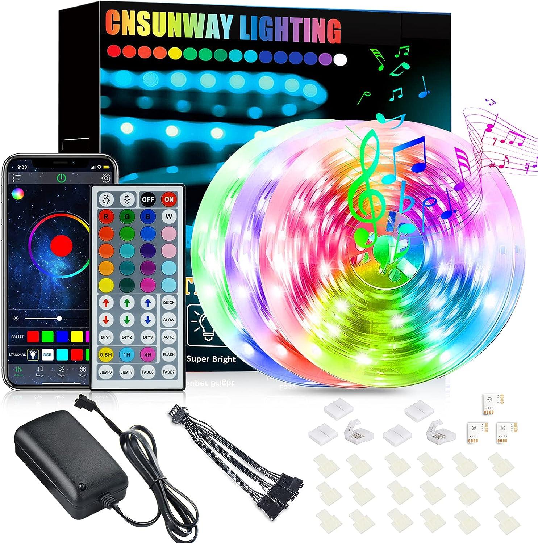 Tiras LED 18M, CNSUNWAY 5050 SMD RGB LEDs con Control Remoto de 44 Botones & Control Bluetooth, para la Habitación, Dormitorio, Fiestas, Bares
