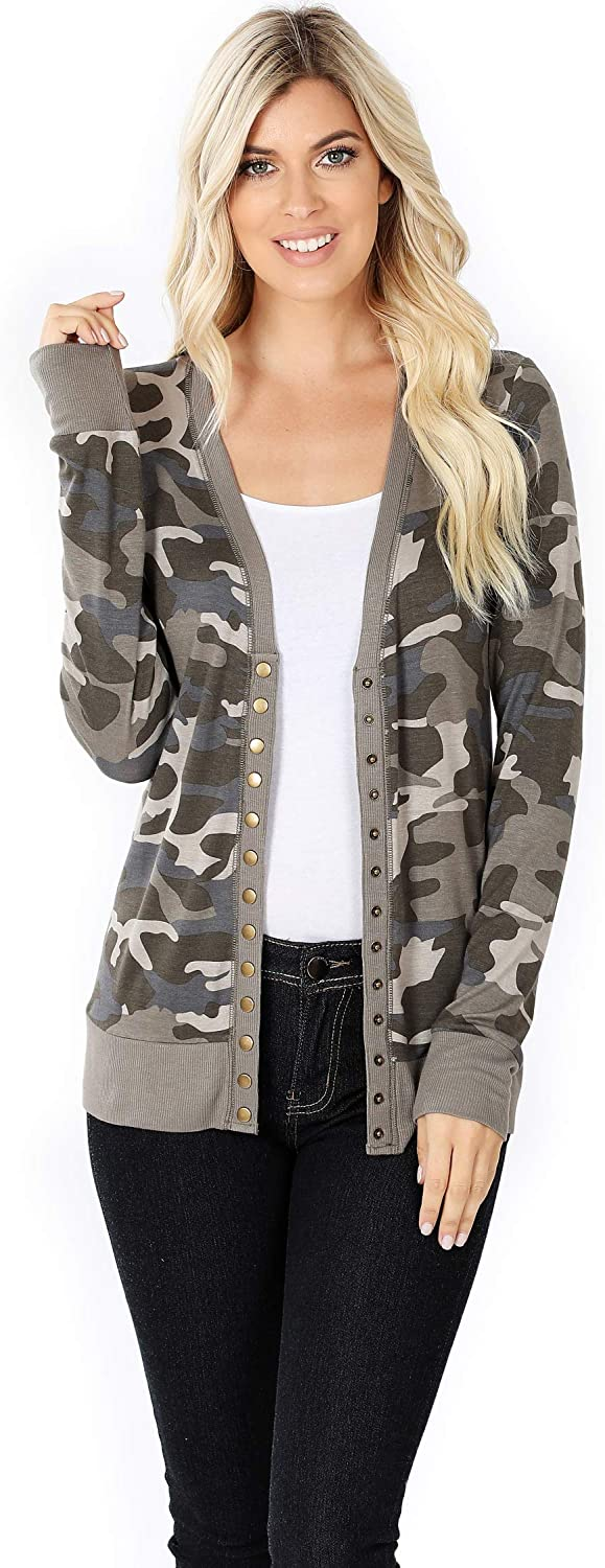 Zenana Womens Leopard or Camouflage Print Snap Button Long Sleeve Long Sleeve Sweater Cardigan