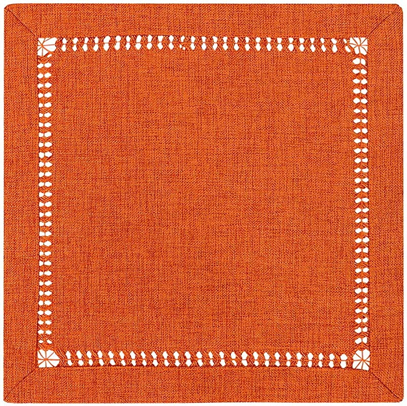 Grelucgo Set Of 4 Handcrafted Solid Orange Color Thanksgiving Dinner Napkins Double Hemstitched Square 12 X 12 Inches