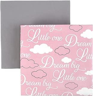 "Tadpoles Microfiber Fitted Crib Sheets – Baby Crib Mattress Sheets (2-Piece, 52"" x 28"" x 8"", Dream Big Pattern in Pink/Grey)"