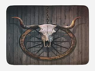 Ambesonne Barn Wood Wagon Wheel Bath Mat, Long Horned Bull Skull and Old West Wagon Wheel on Rustic Wall, Plush Bathroom Decor Mat with Non Slip Backing, 29.5