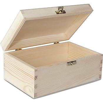 Creative Deco A4 Holz Box Mit Deckel 34 X 25 3 X 5 3 Cm Unlackierte Aufbewahrungs Box Aus Unbehandelte Linde Ideale Schatulle Zur Lagerung Der Wertsachen Spielzeugen Dokumente Amazon De Kuche Haushalt