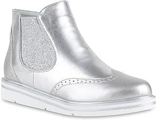 stiefelparadies Damen Stiefeletten Chelsea Boots mit Keilabsatz Profilsohle Flandell